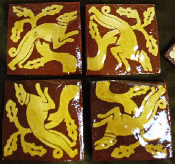 'Running Hound' Kent c1280 4 tiles together make the dog run round.