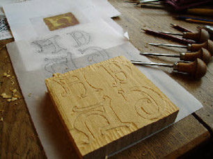 Traditional hand carved wooden block to stamp the tile pattern